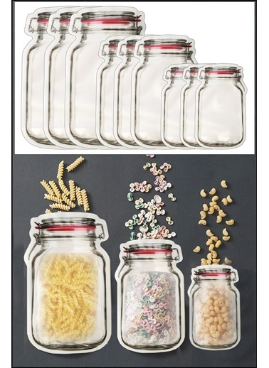 Kitchen Love 9 Adet 3 Boy Kavanoz Görünümlü  Kilitli Saklama Kabı-15X10Cm-150Ml + 20X13Cm-500Ml + 25X17Cm-620Ml Renkli
